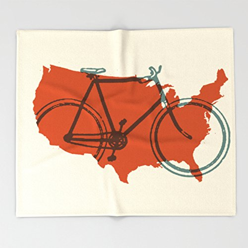 Society6 Bike America Throw Blankets 88'' x 104'' Blanket by Society6
