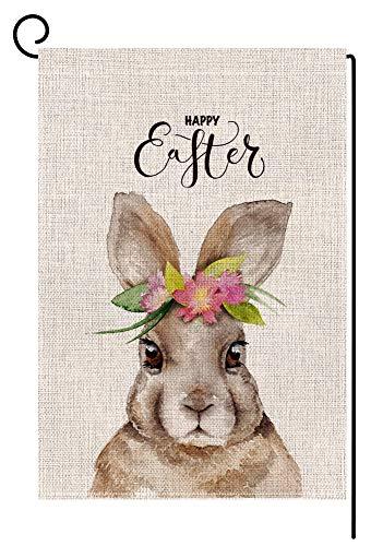 - BLKWHT Easter Bunny Small Garden Flag Vertical Double Sided 12 x 18 Inch Cute Rabbit Yard Decor
