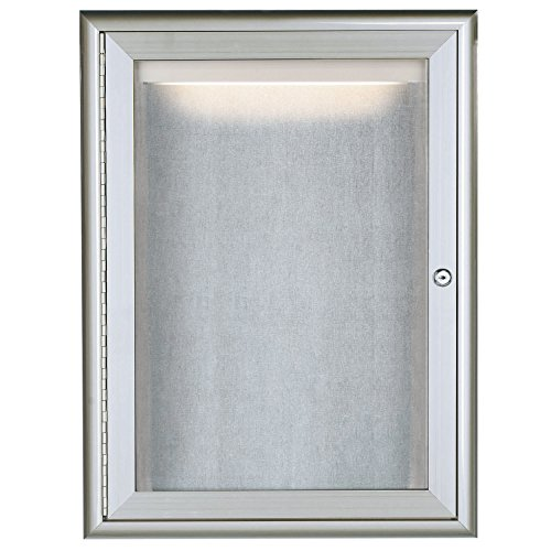 TableTop King LOWFC2418 24'' x 18'' Silver Enclosed Aluminum Indoor / Outdoor Bulletin Board with Waterfall Style Frame and LED Lighting by TableTop King