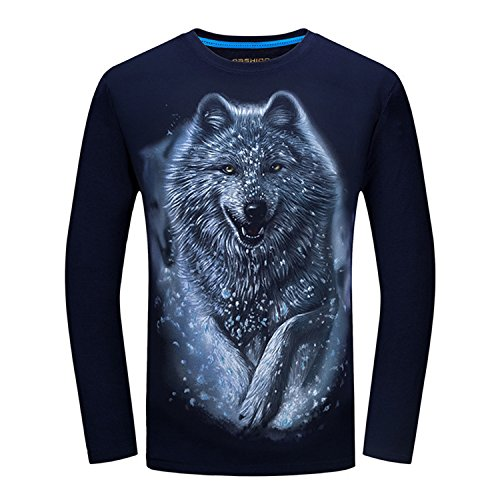 on Long Sleeve T-Shirt 3D Funny Animals Printed Casual Plus Size Tops Tees Navy blue5 Asian Size S (Animale After Shave)