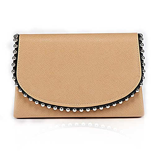Party Vintage Purse Womens Wedding Clutch Khaki Bead Style Handbag Pearl Bag Evening Evening WALLYN'S TwwSqPUF