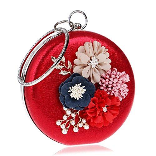 Novias Las color Tarde Mini Blue De Kervinfendriyun Bolsos Cute Cruzado Flores Small Yy4 Embrague Bolso Red Redondos Mujeres La 7InSRw