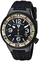 Swiss Legend Women's 11044P-BB-01-GA Neptune Black Dial Black Silicone Watch