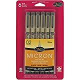 Sakura 50036 6-Piece Pigma Micron-02 Ink Pen Set, 0.30mm, Black