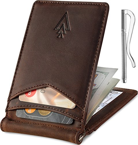 Money Clip Card Wallet - Men's Leather RFID Money Clip Slim Wallet with Leather Keychain