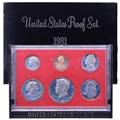 1981 S Proof Set All 6 Coins Type 2 US Mint Gem Deep Cameo Original Box