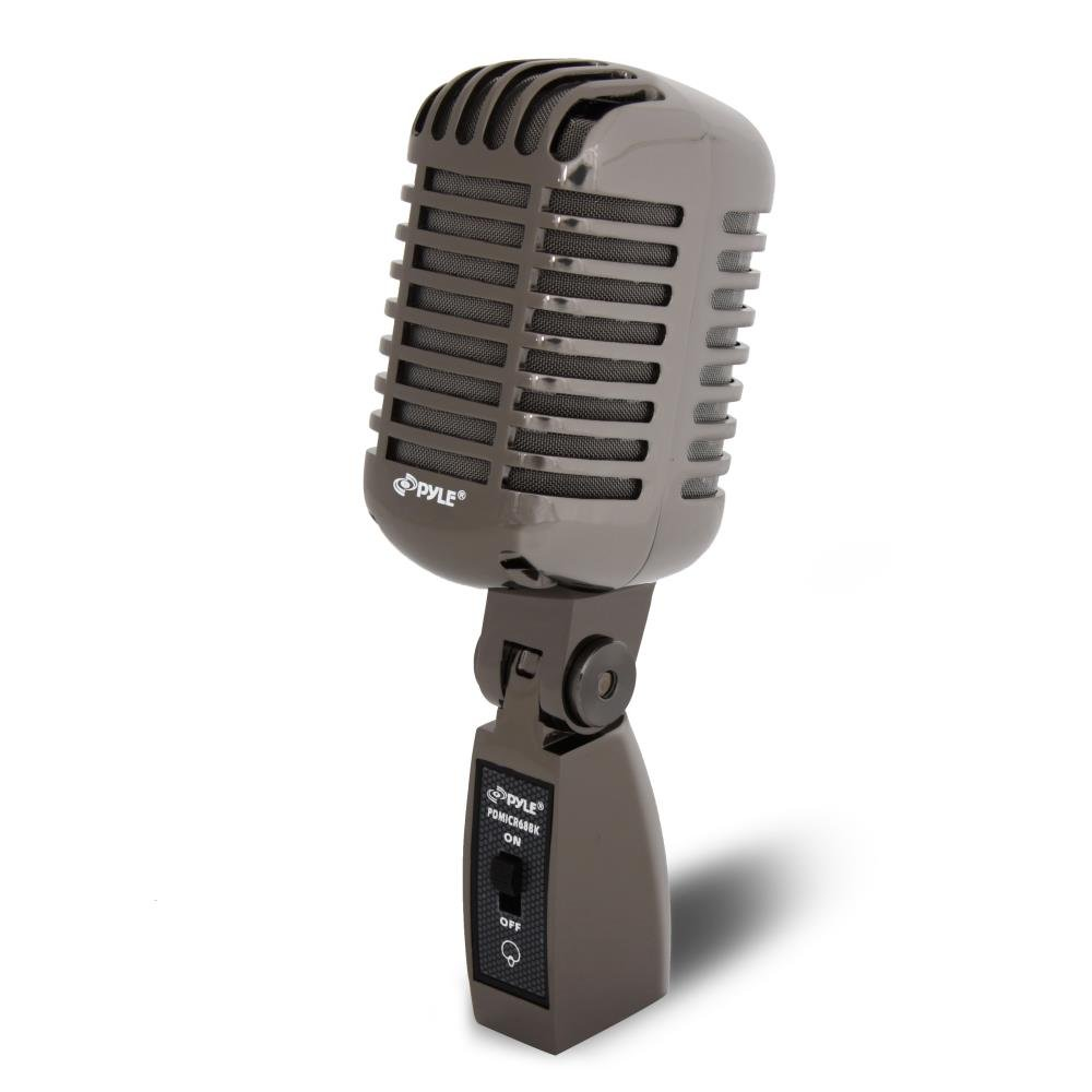 Pyle PDMICR68BK Classic Retro Die Cast Metal Vintage Style Dynamic Vocal Microphone with 16ft XLR Cable