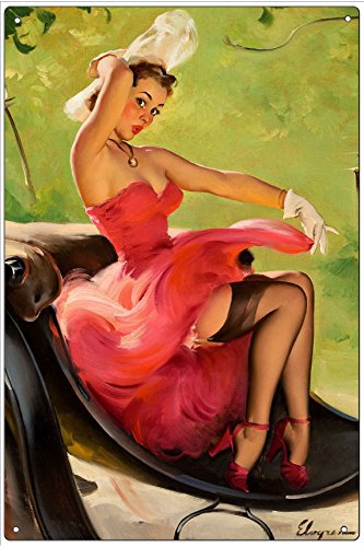 Vintage Pin-Up Metal Plaque Up In Central Park, 1950 - By Gil Elvgren, 6X9 Wall Decor