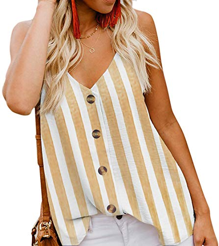 - Angerella Women's Summer Vertical Stripes Button Down V Neck Strappy Tank Tops Shirts Blouses Yellow,S
