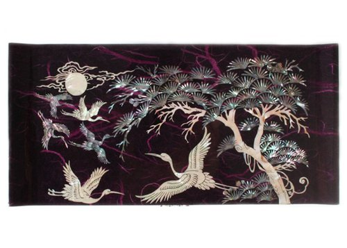 Mother of Pearl Crane and Pine Tree in Purple Mulberry Paper Design Wooden Jewelry Mirror Trinket Keepsake Treasure Gift Asian Lacquer Box Case Chest Organizer by Antique Alive Jewelry Box (Image #3)