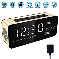 Soundance Electric Digital LED Alarm Clock Wireless FM Radio Portable Bluetooth Speaker with USB Built-in Mic for Bedroom Bedside Office Desk iPhone Android Laptop Desktop Computer, A10+Charger Gold