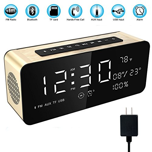 "Soundance 12W Wireless Radio Alarm Clock Bluetooth Speaker with HD Sound Digital 9.4"" LED Display of Time/Date/Temperature, iPhone Android Aux MicroSD USB Support, Model A10 Gold with Wall Charger"