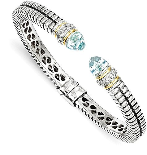 IceCarats 925 Sterling Silver 14k Sky Blue Topaz Diamond Cuff Bracelet Gemstone Bangle Hinged by ICE CARATS (Image #1)