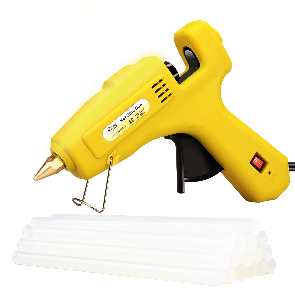 KMC Hot Glue Gun with 16pcs Glue Sticks, 60/100W Dual Power High Temp Heavy Rapid Heating Technology, Transparent Glue Gun Sticks for Arts & Crafts, Sealing and Quick Repairs