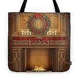 Society6 Christmas Fireplace Tote Bag 18'' x 18''