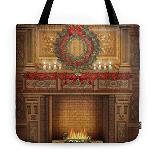 Society6 Christmas Fireplace Tote Bag 18'' x 18'' by Society6