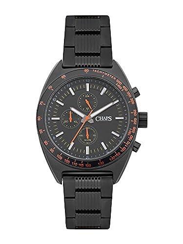 Chaps negro cronógrafo reloj de pulsera para hombre (chp7015)