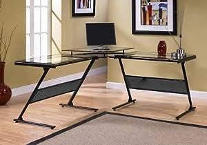 Amazon Com Delano Glass L Shape L Corner Desk 3 Piece