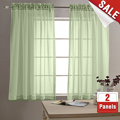 Green Window Curtain - Sheer Curtains for Living Room 63 inch Length Window Curtains for Bedroom Sheers Rod Pocket Voile Curtain Set (1 Pair, Sage)