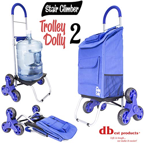 Cart Rib - dbest products Stair Climber Trolley Dolly 2, Blue Shopping Grocery Foldable Cart Condo Apartment