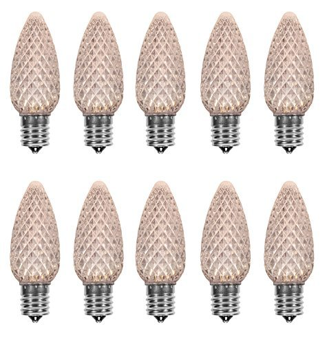 Pack of 25 LED C9 Warm White Replacement Christmas Light Bulbs for Light Strand, Commercial Grade Dimmable Holiday Bulbs , 5 Diode(LED's) in each Strawberry Bulbs, Fits in E17 Base Sockets (Strings Led Christmas C9 Lights)