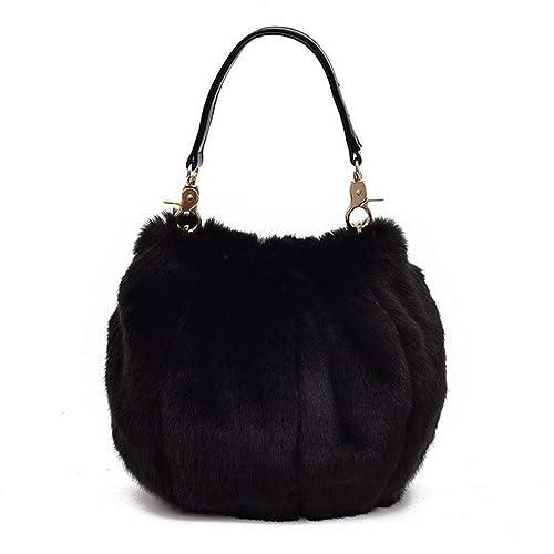 0b5b3f003f Marchome Women Bucket Bag Soft Faux Fur Handbag Purse Crosssbody Shoulder  Bag Black