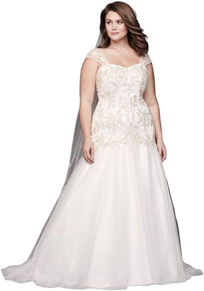 David\'s Bridal Metallic Lace Applique Plus Size Wedding ...