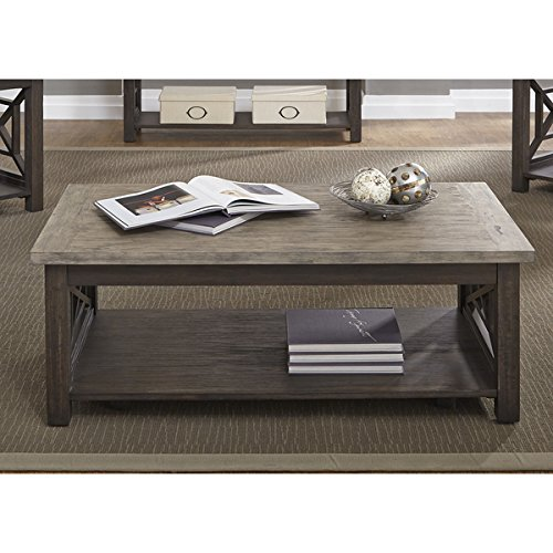 Heatherbrook Charcoal and Ash Castered Cocktail Table - Marion Rectangular Cocktail Table
