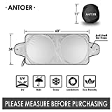 "ANTOER Car Sun Shade Travel Pouch, Large Sizes Windshield Sun Shade With 2 Ears Block Out 99% UV Rays Heat & Snow Car SunShade Keep Automobile Cool Easy to use 63""x34"""