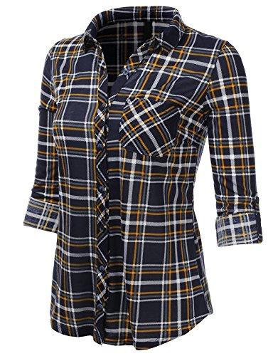 Plaid Flannel Womens (H2H Womens Sexy Flannel Plaid Checker Button Down Roll Up and Long Sleeves Shirt Top NAVYMUSTARD US M/Asia M (AWTSTL0485))