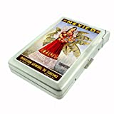 Perfection In Style Metal Cigarette Case with Built In Lighter Vintage Travel Posters Design 015