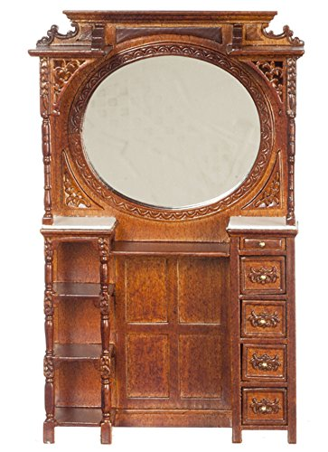 (Dollhouse Miniature Victorian Barber Cabinet w/Mirror in Walnut by Town Square Miniatures)