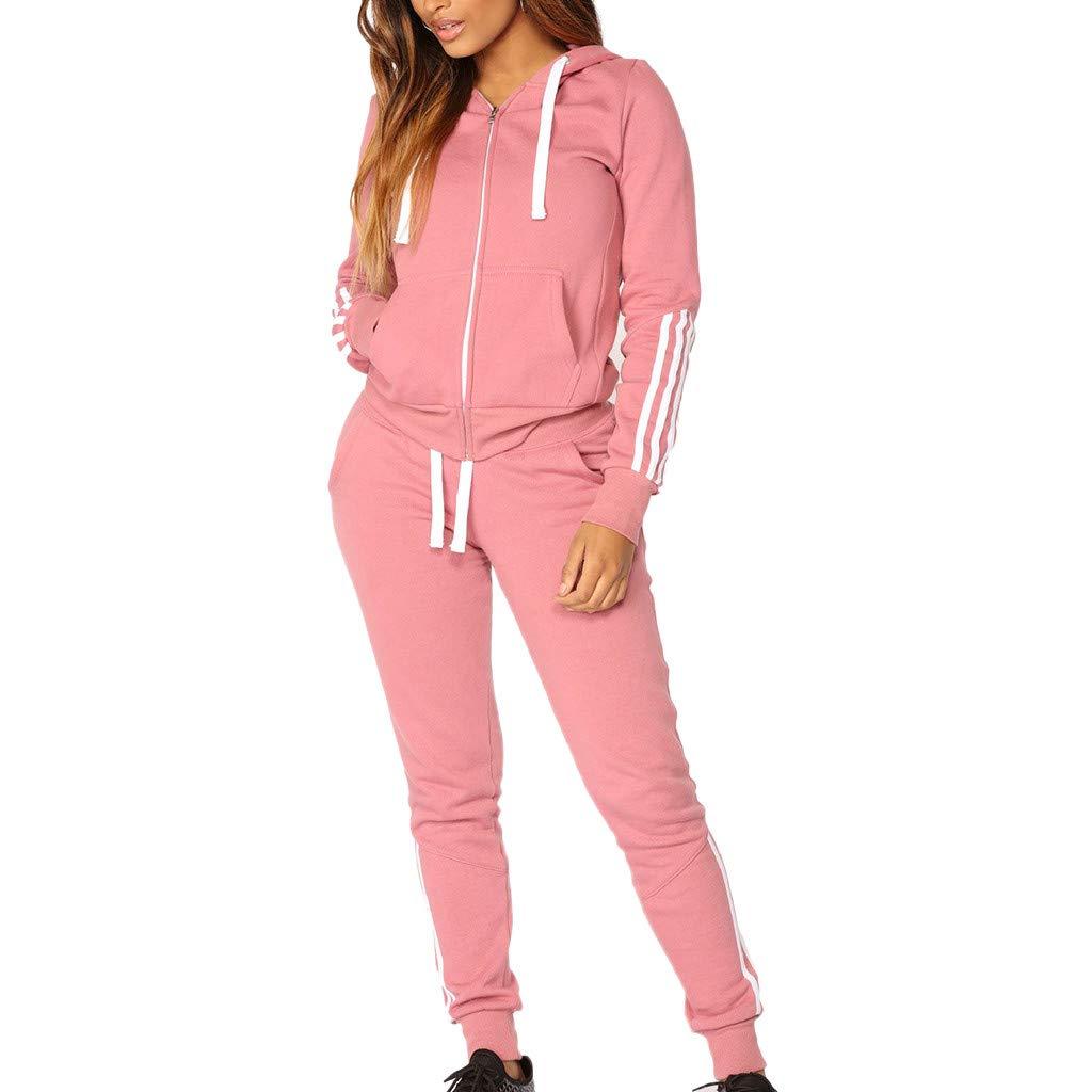 Dreamyth-Winter 2Pcs Women Tracksuit Casual Stripe Zipper Long Sleeve Pullove Sport Tops+Long Pants Set (Pink, S)