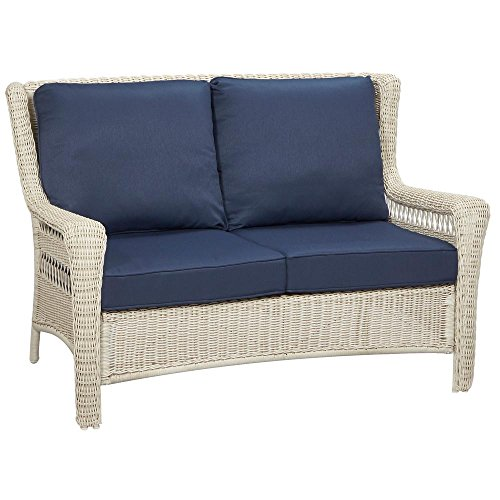Hampton Loveseat - Hampton Bay Park Meadows Off-White Wicker Outdoor Loveseat with Midnight Cushion