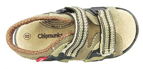 Chipmunks Chico Chica infantil Cuero Casual Verano Sandalias De Tiras Verde