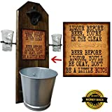 Deluxe Liquor Before Beer Shot Glass Holder with 2 Shot Glasses, Bottle Opener and Cap Catcher - Handcrafted by a Vet - Wall mounted, Solid Pine, Rustic Opener and Mini Galvanized Bucket - Unique Gift