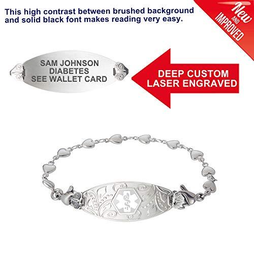 Divoti Deep Custom Laser Engraved Lovely Filigree Medical Alert Bracelet -Stainless Heart Link -White-6.5'' by Divoti (Image #1)