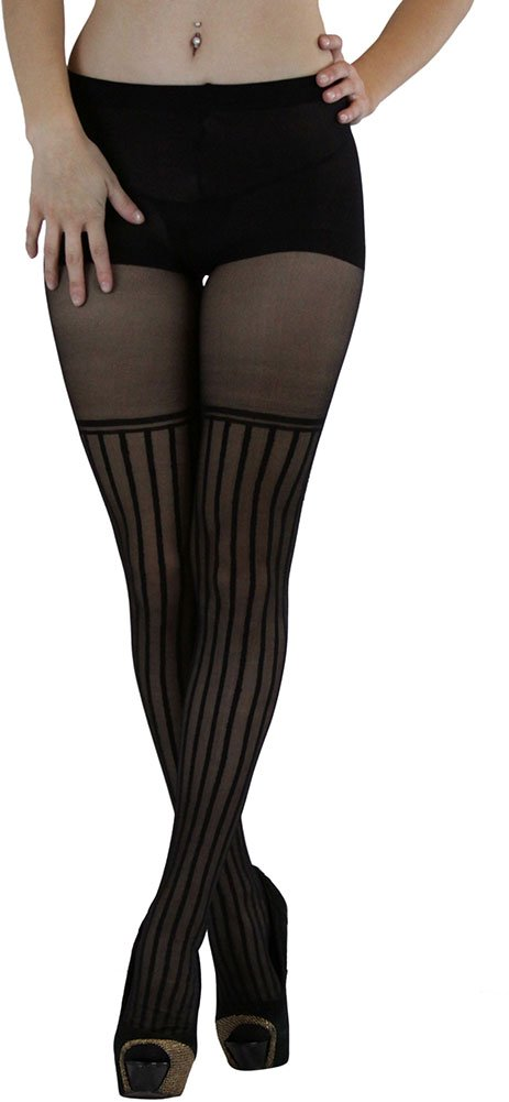 ToBeInStyle Women's Spandex Sheer Thin Vertical Stripe Pantyhose, Style 7270, Black, One Size Fits Most
