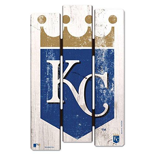 WinCraft MLB Kansas City Royals Wood Fence Sign, Black
