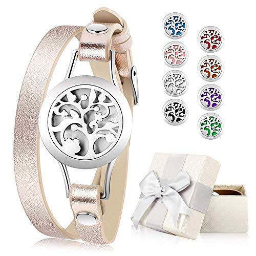 Essential Oil Diffuser Bracelet, Aromatherapy Bracelet Jewelry Stainless Steel Locket Leather Band with 8pcs Washable Refill Pads Birthday Gifts for Women,Girlfriend, - Gift Essentials