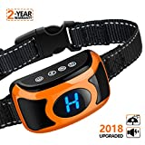 Bark Collar Dog Shock Bark Control - 2018 Upgraded Rechargeable No Bark Collar with Smart Chip, Large LED Display, Beep, Vibration, Harmless Shock, 3 Sensitivity Levels for Small Medium Large Dogs