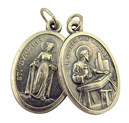 Silver Toned Base Saint Dymphna with St Joseph the Worker Medal, 1 Inch, Set of 2