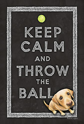 Toland Home Garden Keep Calm and Throw The Ball 12.5 x 18 Inch Decorative Cute Funny Puppy Dog Double Sided Garden Flag]()