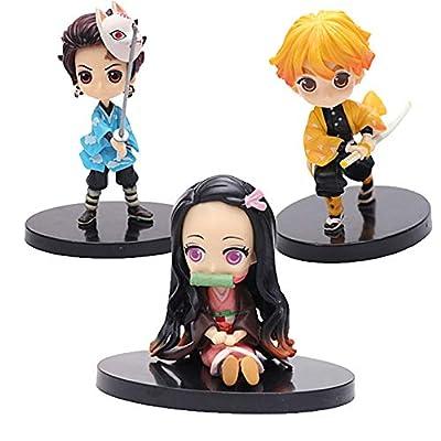 Demon Slayer: Kamado Tanjiro&Kamado Nezuko&Agatsuma Zenitsu PVC Figure Action Figure Statue Figurine Model Doll Cute Collection Birthday Gifts (Kamado Tanjiro&Kamado Nezuko&Agatsuma Zenitsu): Toys & Games