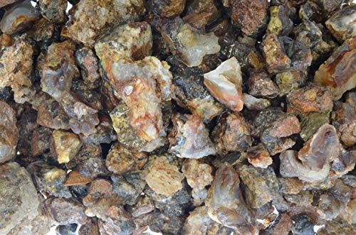 (Fantasia Materials: 1/2 lb Bulk Fire Agate Rough Stones from Mexico - Unsearched and Unsorted Mine Run Natural Rocks and Crystals for Polishing, Cabbing, Wire Wrapping, Wicca, Reiki and More!)