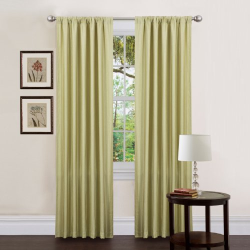 Triangle Home Fashions 18931 Lush Decor 84-Inch Luis Curtain Panels, Celery, Set of 2 - 84' Rod Pocket Draperies