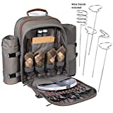 Search : Picnic Backpack Set Pack With Wine Stand & Glasses, Cutlery, Dinnerware, Detachable Insulated Waterproof Compartment Pouch In The Cooler, Blanket For Family Outdoor Dining & Camping (4 Person)