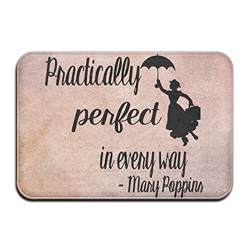 Mary Poppins Practically Perfect In Every WayDoormat Entrance Mat Floor Mat Rug Indoor/Outdoor/Front Door/Bathroom Mats Rubber Non Slip