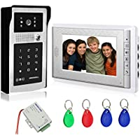AMOCAM Video Door Phone System, 7' Video Intercom Doorphone System, Wired Video Doorbell Touch Alloy HD Camera, ID Keyfobs Card/Password Keypad Unlocking Option with Power Supply Control