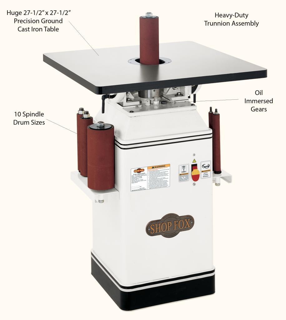 shop fox w1686 1 hp oscillating spindle sander. Black Bedroom Furniture Sets. Home Design Ideas